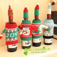красное вино вязать оптовых-Knit красного вина Обложка High Grade Творческой форма человеческой Новогоднее украшение Western Food Вязание Champagne Set 7 1qy F R