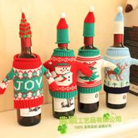 rotwein stricken groihandel-Knit Rotwein Abdeckung High Grade kreative menschliche Form Weihnachtsdekoration Western Food Knitting Champagne Set 7 1QY F R