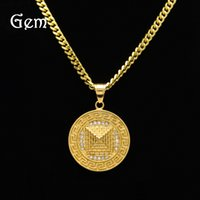 Bijouterie en or plaqué à la rue pour homme Round Military license Full Diamond Pyramid Pendant Colliers 5mm Cuban Chain Pop Hip Hop Accessoires