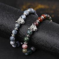 Wholesale Wholesale Azurite - Natural Agate Stone Weathering Black Pine Volcano Azurite Hand Lion Leopard Head String Bead Bracelet Jewelry