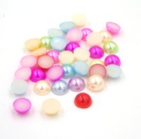 Wholesale flatback pearls mixed - Mix Color Simulated Flatback Half Pearl Craft Beads Pearls Meia Perola 8mm Scrapbook Material Manualidades 500Pc Decoration Bead