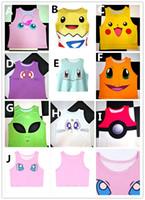 Wholesale Pikachu T Shirt Women - Poke Pattern Vest 10styles women girls cut off cartoon T shirt pikachu Crop Top cartoon Print tank tops sleeveless T-shirts pocket monster