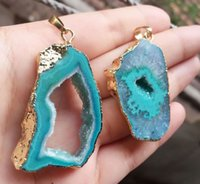 Wholesale Agate Druzy Geode Pendant Bead - Free shipping 5pcs Gold plated Lake Blue color Round Agate Druzy Geode pendant,Drusy Crystal Gem stone connector Beads, Jewelry findings