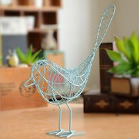 Wholesale grocery rural wrought iron bird ornaments black and white minimalist style blue tricolor Gifts Crafts A0513