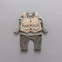 Wholesale Baby Knitted Pants - Korean Boys Kids Clothes stripe boy suit 3pcs set shirt+knitted waistcoat+trousers pants Children Outfit Baby Boy Clothing Boy Outfits A1220