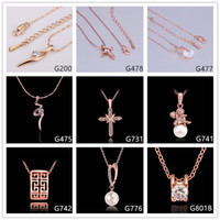 Wholesale Yellow Pearl Flower Necklace - Hot sale women's crystal gemstone rose gold pendant necklace GTMG1,cross pearl 18k gold necklace(with chain) 10 pieces a lot mixed style