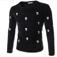 Wholesale Fine Knit Sweaters - Wholesale-The new 2016 fine embroidered person cranial head British men's cultivate one's morality round collar sweater knit
