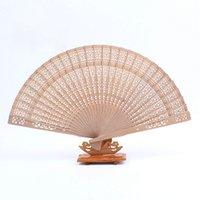 Wholesale Wholesale Customized Wedding Fans - Personalize Wood Hand Folding Fans+Customized Name and Date by Laser Printing Wedding Gift Favor Free Shipping ZA4452