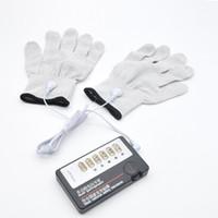 Wholesale E Stimulation - Electro Shock Gloves E-Stim Stimulation Pair Couples Sex Toys Games A255