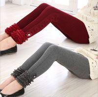 Wholesale Korean Children Tights - Korean Style Princess Slim Children Leggings Bontique Striped Lace Girls Tights Super High Quality Kids Winter Pants Big Girls Trousers 9499
