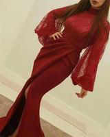 vestidos de baile grandes jóias venda por atacado-2018 Nova Chegada árabe Dubai Bainha Vestidos de Baile Rendas Applique Jóia Pescoço Mangas Grandes de Cetim de Alta Side Dividir Formal Evening Prom Vestidos