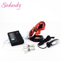 Wholesale Vibrator Kits - Estim Anal Plug Male Electro Chastity Devices Cock Cage Electric Sex Electrical Stimulation Electric Shock Kit With Nipple Clamp