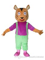 Wholesale Vision Costume - SX0720 Good vision good Ventilation leopard panther mascot costume with a purple shirt for adult to wear