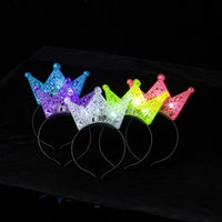 Wholesale Decorations For Headbands - Lovely Kids Head Band Luminous LED Light Hair Hoop Hollow Out Design Plastic Crown Headband For Halloween 2 19by B