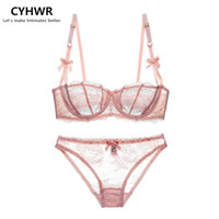 Wholesale New Women Cup Bra - Wholesale-New 2016 Fashion transparent sexy bra set plus size Women lace ultra-thin blue underwear set