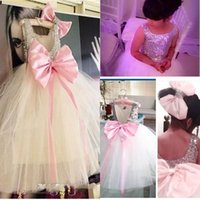 Wholesale Wedding Dresses Big Girls - Big Bow Flower Girls Dresses For Weddings Scoop Sequined Lovely First Communion Dress Ribbon Tulle Tutu Personalized Girls Pageant Dress