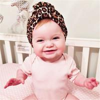 Wholesale Kids Leopard Cap - 2016 new fashion leopard print turban kids girls cotton hat Winter Autumn Baby Hat baby cap Indian Caps