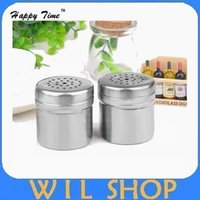 Wholesale metal spice jars for sale - Group buy Free Shiping Fashion home kitchen supplies multifunctional stainless steel jar container seasoning can salt storage bottle