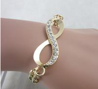 ingrosso braccialetti svegli dell'infinito-Braccialetti per le donne New Charming Jewelry Chic Cute Gold Crystal Rhinestone Infinity Chain Bracelet