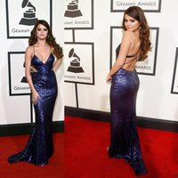 Wholesale Selena Dress - 2016 Selena Gomez Grammys Red Carpet Celebrity Dresses Deep V Neck Cross-criss Sexy Back Sparkles Cutaway Evening Gowns