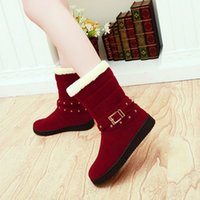 Wholesale Size 33 Boots - Comfortable Women Winter Snow Boots Flat Heel Plush Slip on Mid Calf Round Toe Half Boots without Buckle Fashion Women Shoes Size 33-40