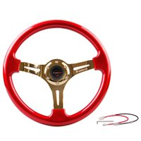 Wholesale Car Bolts - 2016 New Arrive 350mm 14inch ABS Car Steering Wheel with Universal 6 Bolt Red Black Blue 3 colors optional