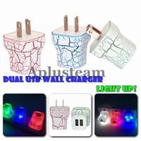 iphone iluminação carregador venda por atacado-LED Dual USB Carregador de Parede Crack Design Brilho de Iluminação ACIMA de 5 V 2A AC Casa de Viagem de Carregamento Adaptador De Energia para o iphone 6 6 plus samsung universal