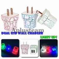 LED Dual USB Wall Charger Crack Design Glow Lighting UP 5V 2A AC Travel Home Адаптер питания для iphone 6 6 plus Samsung Universal