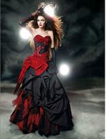 robes de mariée en dentelle à vendre achat en gros de-Robes De Mariée Gothiques Rouges Et Noirs 2016 Sweetheart Bow Dentelle Drapé Taffetas Vintage Robes De Mariée Robe De Noiva Personnalisé W102 Vente Chaude