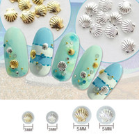 Wholesale Sea Shell 3d Nail Art - 60 pcs Wheel Sea Shell Shape Metal Stud Mix Size 5MM&3MM and Color Gold&Silver Nail Art 3D Decoration