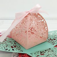 Wholesale Green Leaf Ribbon - 200pcs Laser Cut Hollow Rose Flower Leaf Candy Box Chocolates Boxes With Ribbon For Wedding Party Baby Shower Favor Gift