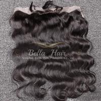 saçlı ön kapak toptan satış-4 * 13 Boyanabilir Dalgalı Vücut Dalga Kulağa Dantel Frontal Kapatma Saç Adet Siyah Renk Brezilyalı İnsan Saç Ücretsiz Nakliye Bella Saç