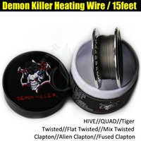 Wholesale vaporizer tiger coils resale online - Demon Killer Flat Twisted Wire Fused Clapton Hive Alien Quad Tiger Wire Coils Feet Roll Coils with Organic Cotton For DIY Vaporizer