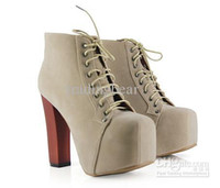 Wholesale Wooden Leather High Heels - 2011 trendy high heel platform wooden heel boots 4 colors comfortable lace up boots
