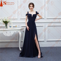 Wholesale Wedding Evening Dress Gown Chiffon - Free Shipping black 2016 Square Neck Vestiodos de Npiva Floor-Length Prom Dress Evening Long Party Gowns modern style Wedding Occasion