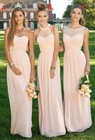 Wholesale Chocolate Chiffon Bridemaid Dress - 2017 Bridemaid Dresses Light Pink A-Line Lace Illusion Neckline Sleeveless Maids of Honor Special Occasion Dresses For Wedding Custom Made