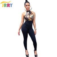 Wholesale halter top jumpsuits women - Wholesale- JRRY Fashion Off the Shoulder Halter Neckline Women Sequin Jumpsuit Backless Zippers Sequinned Top Black Long Pants Lady Romper
