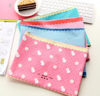 Wholesale Cute A4 Folder - Wholesale-1Pcs Kawaii Cute Sheep Oxford A4 Document Bag Storage Carpetas Archivadora File Folder for Papers Stationery Fichario Papeleria