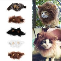 Wholesale Dogs Dress Up Costume - Pet Cat Dog Emulation Lion Hair Mane Ears Head Cap Autumn Winter Dress Up Costume Muffler Scarf