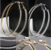 Wholesale Big Hoop Earrings Free Shipping - Free Shipping Big Circle crystal Hoop Earrings For Women Bohemian Bridal Party Jewelry Gold Silver Alloy Earrings Brincos EAR-0069