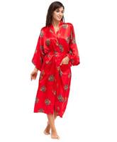 Wholesale Novelty Sleepwear - Wholesale-Europe America Brand Red Sexy Women Sleepwear Faux Silk Long Robe Novelty Kimono Yukata Gown S M L XL XXL XXXL A154