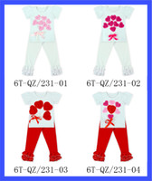 Wholesale Valentine Outfits - 2 14 Valentine outfit roses heart clothes girls V-day red white Ruffle Pants Set LOVE Children Clothing Ruffle