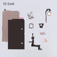 placa de iphone 5c al por mayor-Blanco negro dorado para el iphone 5s 5g 5c conjunto completo pequeña parte de la reparación del escudo del metal placa frontal de la cámara botón de inicio Flex envío gratis
