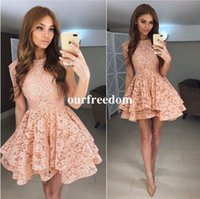 Wholesale Lace Skirt Juniors - Cute Full Lace Short Homecoming Dresses 2017 Modest Jewel Neck Ruffles Tiered Skirts Junior Graduation Party Gown Cocktail Dresses Custom
