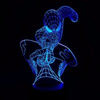 Wholesale Eiffel Towe - Spiderman 3D Night Lamp Optical Night Light 9 LEDs Night Light DC 5V Factory Wholesale Eiffel Towe