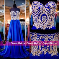 Wholesale Lace Bodice Special Occasion Dresses - Royal Blue Chiffon Evening Dresses with Gold Appliqued Bodice for 2016 Special Occasion Formal Women Wear Strapless Long Pleated Prom Gowns