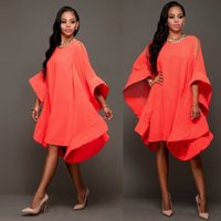 Wholesale Dress Ruffle Hem - Fashion Women 2016 Autumn New Designer Style Long Big Flare Sleeve Large Hem Oversized Loose Dresses Bohemian Casual Apparel
