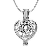 Wholesale Locket Rings Wholesale - 3pcs olympic rings heart shape sterling silver cage pendant 13*10*20mm