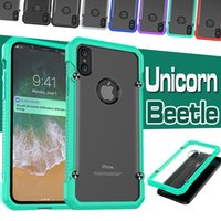 Wholesale Iphone Bumper Matte - For iPhone X Case Unicorn Beetle Hybrid TPU Bumper PC Clear Shockproof Matte Cover For iPhone 8 7 6 6S Plus SE 5S 5 Samsung S8 S7 Edge