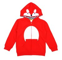 Großhandel Mädchen Kinder Strickjacke Outwear Kinder Kleidung Frühling Herbst Rot Cartoon Fox Hüte Terry Mantel Jacken Boutique Kleidung